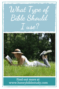 Girl-lying-on-the-grass-reading-What-type-of-Bible-should-I-use? Read-the-post-at-www-honey-Bible-study-com