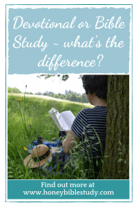 young-person-sitting-with-their-back-against-a-tree-reading-is-a-bible-study-the-same-as-reading-a-devotional-see-the-post-at-www-honey-bible-study-to-find-out-more