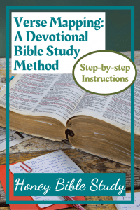 an-open-Bible-with-lots-of-verses-underlined-alongside-somescraps-of-notes-and-a-red-envelope-to-illustrate-the-page-title-verse-mapping-a-devotional-bible-study-method-at-www-honeybiblestudy-com
